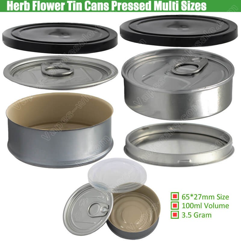 Pre Sealed Tin Cans for Cannabis Marijuana Flowers Dry Herb