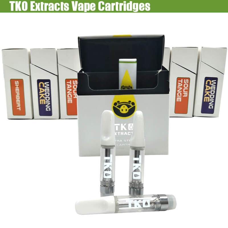 TKO Extracts Vape CBD THC Cartridges with Flavors Stickers Packaging