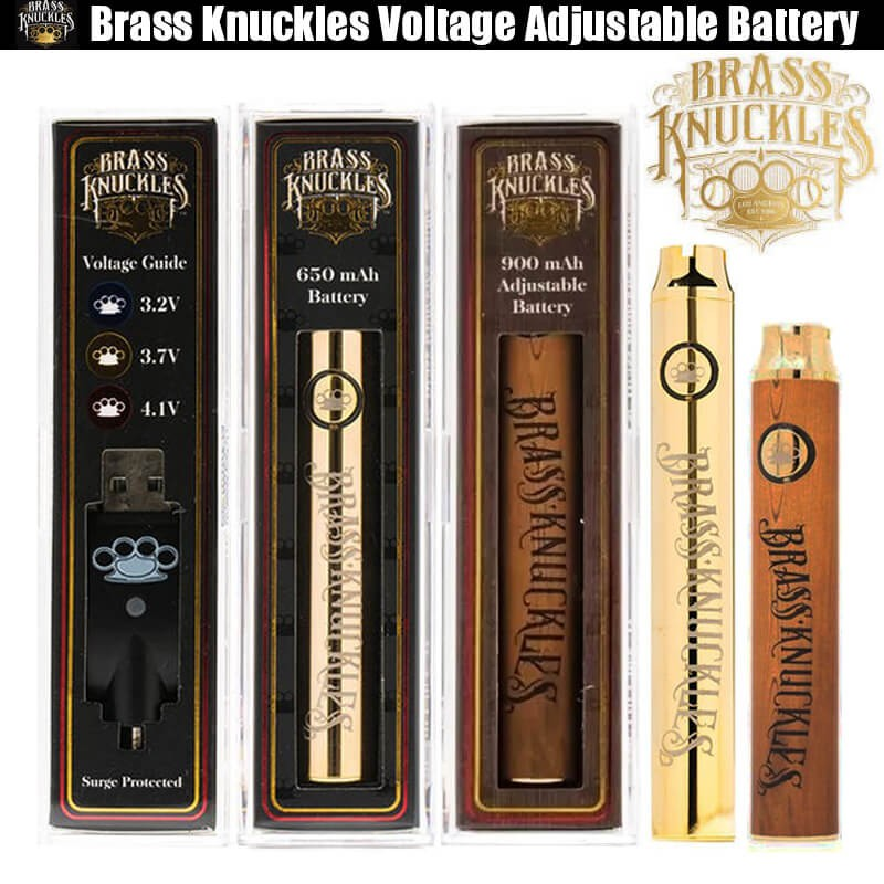 Brass Knuckles Battery 650mAh 900mAh Wood Gold Preheat Variable Voltage Adjusted