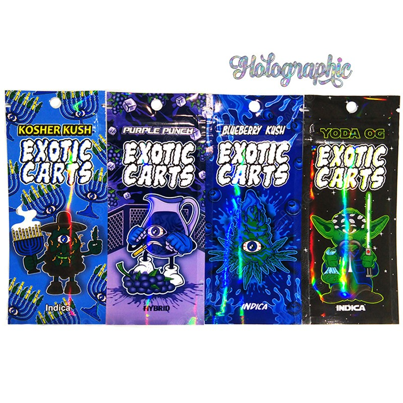 Newest Holograms Exotic Carts Holographic Printing Packaging Bag For