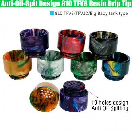 Newest Anti Oil Spitting 810 TFV8 Epoxy Resin Drip Tips Wide Bore Dripper Mouthpiece