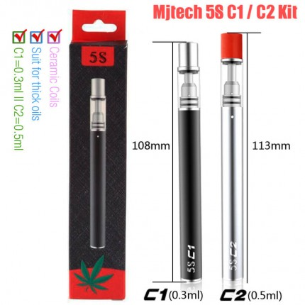Original Mjtech 5S C1 C2 Vape Pen CBD THC Disposable Vaporizer