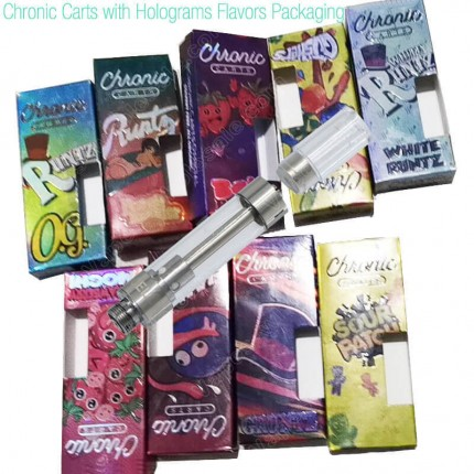 Chronic Carts CBD THC Vape Cartridges with Holograms Flavors Packaging