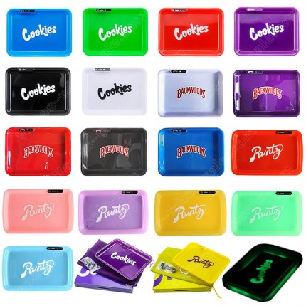Cookies Runtz Backwoods Glow LED Tray Rechargeable Rolling Plate Cannabis Flowe Dry Herb Storage Holder