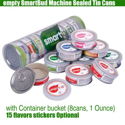 empty Smartbud Tin Cans 65*27mm 3.5Gram with Container bucket 15 Flavors Stickers