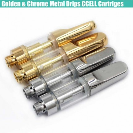Gold & Chrome CCell TH210 TH205 Cartridges Ceramic Coils Tank CBD Hemp THC Oil Atomizer