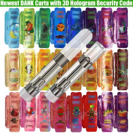 Newest DANK CBD THC Cartridges 3D Hologram Side Security Code Packaging Vape Carts