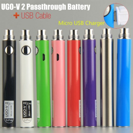 Original UGO V-II 2 650mAh 900mah EVOD ego 510 BUD Touch Vape Cartridge Battery