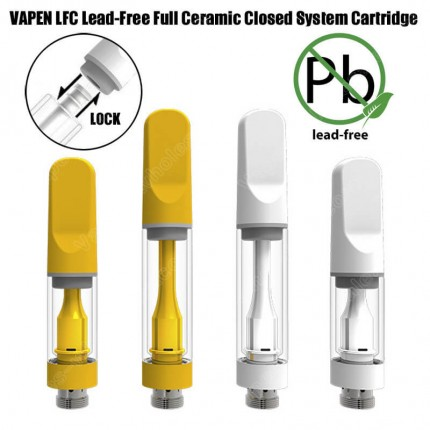 VAPEN LFC Lead-Free Full Ceramic CBD Vape Cartridge Closed System Pressed Tips Passed CA Heavy Metal Testing