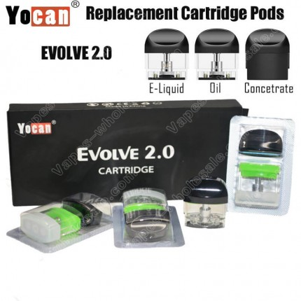 Original Yocan Evolve 2.0 Cartridge NicSalt Thick Oil Concentrate Ceramic Coil Pods System