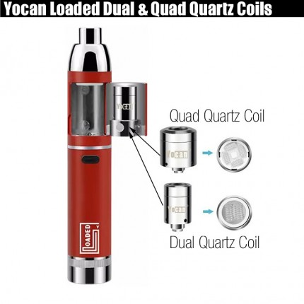 Original Yocan Loaded Dual QUAD QDC Quartz Magentic Chamber Replacement Coils
