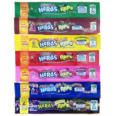 MEDICATED NeRds Rope TEAR SHARE Food Level Bags 400mg 420mg 600mg Package