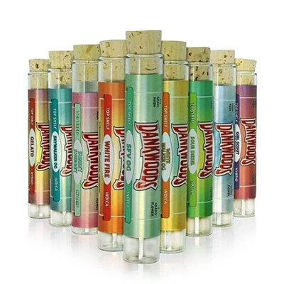 Empty DANKWOODS Cartridges Glass Tube Wood Tips for Dry Herb Tobacco RAW With Pre-roll Flavors Stickers 15/18*120mm