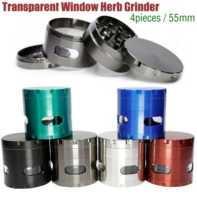 Tobacco Herb Grinder Spice Herbal Alloy Smoke Crusher Transparent window 4 Layers