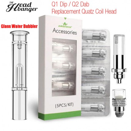 Original Airis Headbanger Qtip Glass Water Bubbler Q1 DIP Q2 Dab Airistech QCell Replacement Quatz Coils