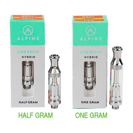 Alpine Live Resin Vape Cartridges Half One Gram with Flavors Stickers Packaging Box