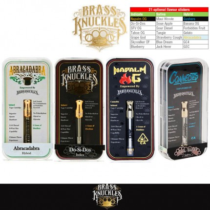 Newest Gold Brass Knuckles Connected Abracadabra Napalm OG Vape Cartridges 21 Flavour Stickers
