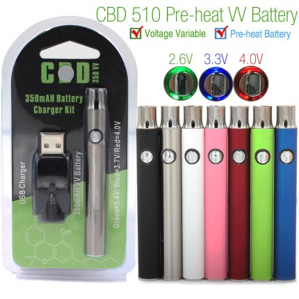 350mAh CBD Preheat Variable Voltage VV Battery with mini USB Charger Blister Package