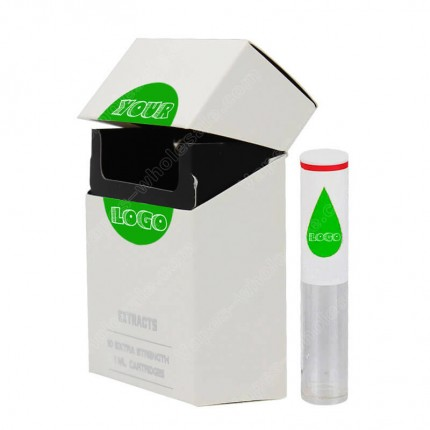 Custom Flip Cover Packaging Box as TKO CBD THC Cannabis Oil Cartridges Box 10pcs PP Tube Flavors Stickers