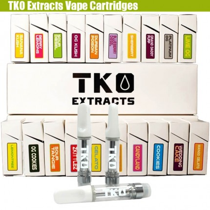 Empty TKO Extracts Vape CBD THC Cartridges with Flavors Stickers Packaging Box