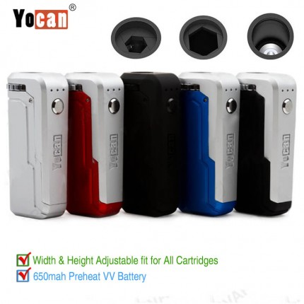 Authentic Yocan UNI Mod 650mAh Preheat VV Battery for All Size CBD/THC Cartridges
