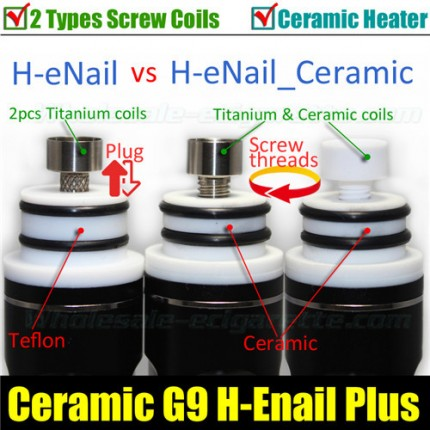 Newest Version G9 H eNail Ceramic Dry Herb Wax herbal vaporizer cigarettes HeNail e Nail DNail glass Kit