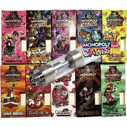 Monopoly Carts Vape CBD THC Cell M6T Cartridges with 12 Flavors Hologram Box Packaging