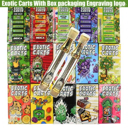 New Engraving Exotic Carts Vape Cartridges All Flavors Paper Box Packaging